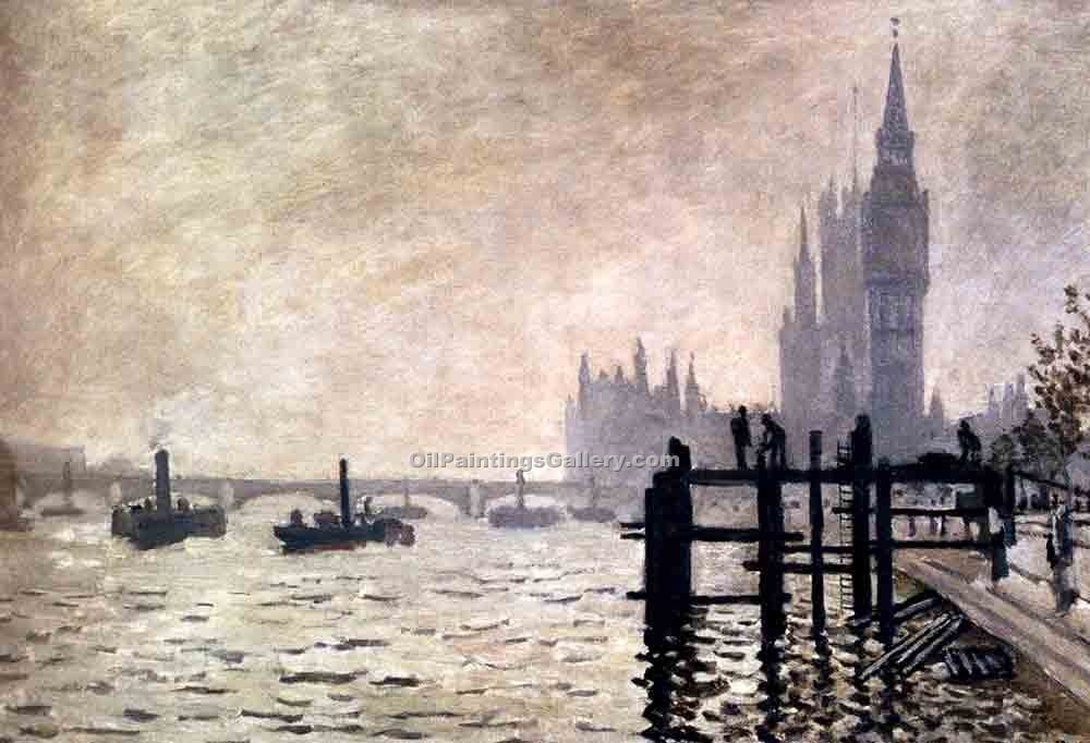 """ The Thames and the Houses of Parliament"" by  Claude Monet"