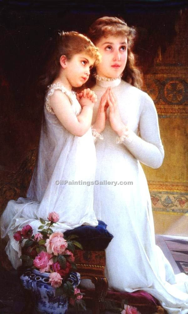 """2 girls praying"" by  Emile Munier"