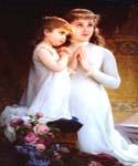 2 girls praying by  Emile Munier (Painting ID: EI-0061-KA)