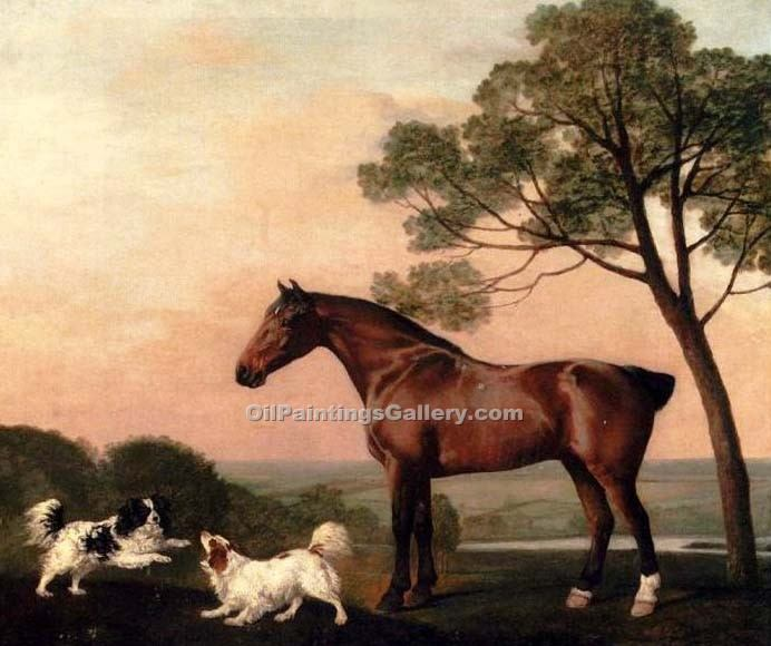 """A Baby Hunter with Two Spaniels"" by  George Stubbs"