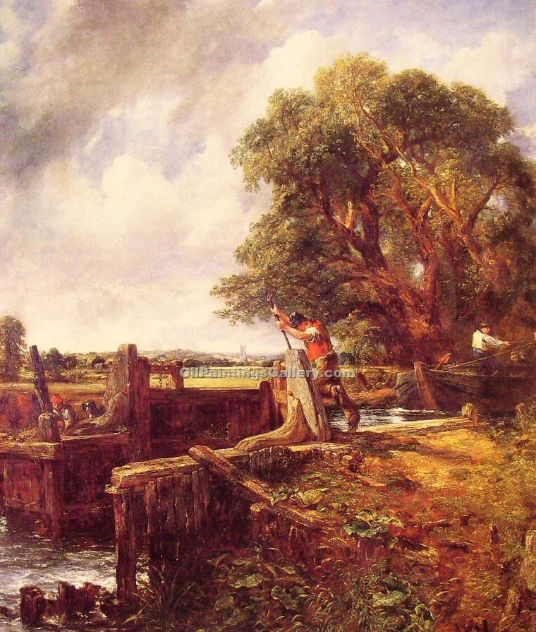"""A Boat Passing a Lock"" by  John Constable"