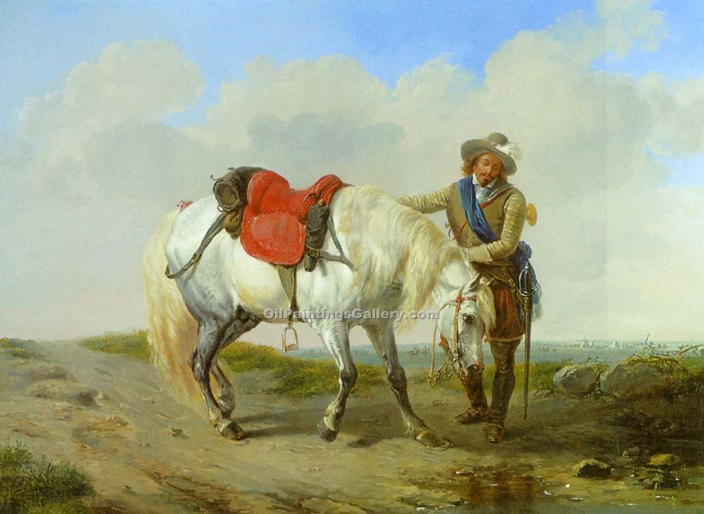A Cavalier watering his Mount by Eugene Joseph Verboeckhoven | Artwork For Sale