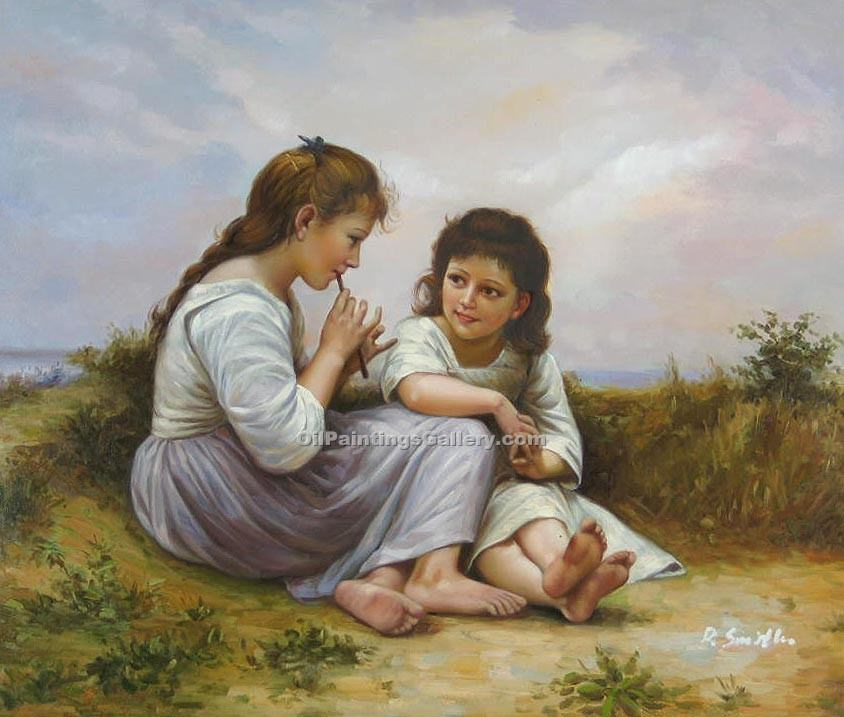 A Childhood Idyll by Bouguereau Adolphe | Mediterranean Paintings - Oil Paintings Gallery