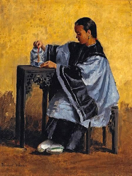 """A Chinese Beauty Pouring Tea"" by  Theodore Wores"