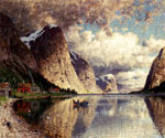 A Cloudy Day on a Fjord by  Adelsteen Normann (Painting ID: LA-3224-KA)