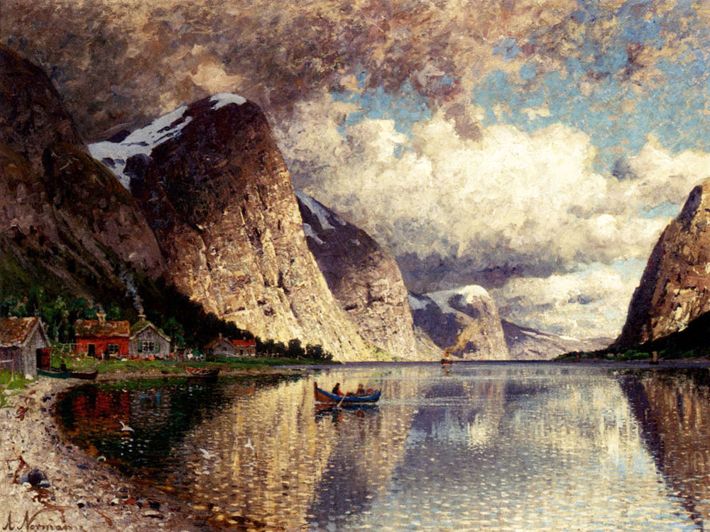 """A Cloudy Day on a Fjord"" by  Adelsteen Normann"