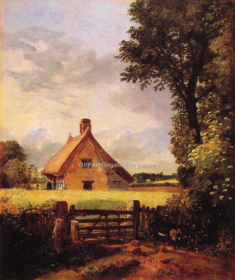 """A Cottage in a Cornfield"" by  John Constable"