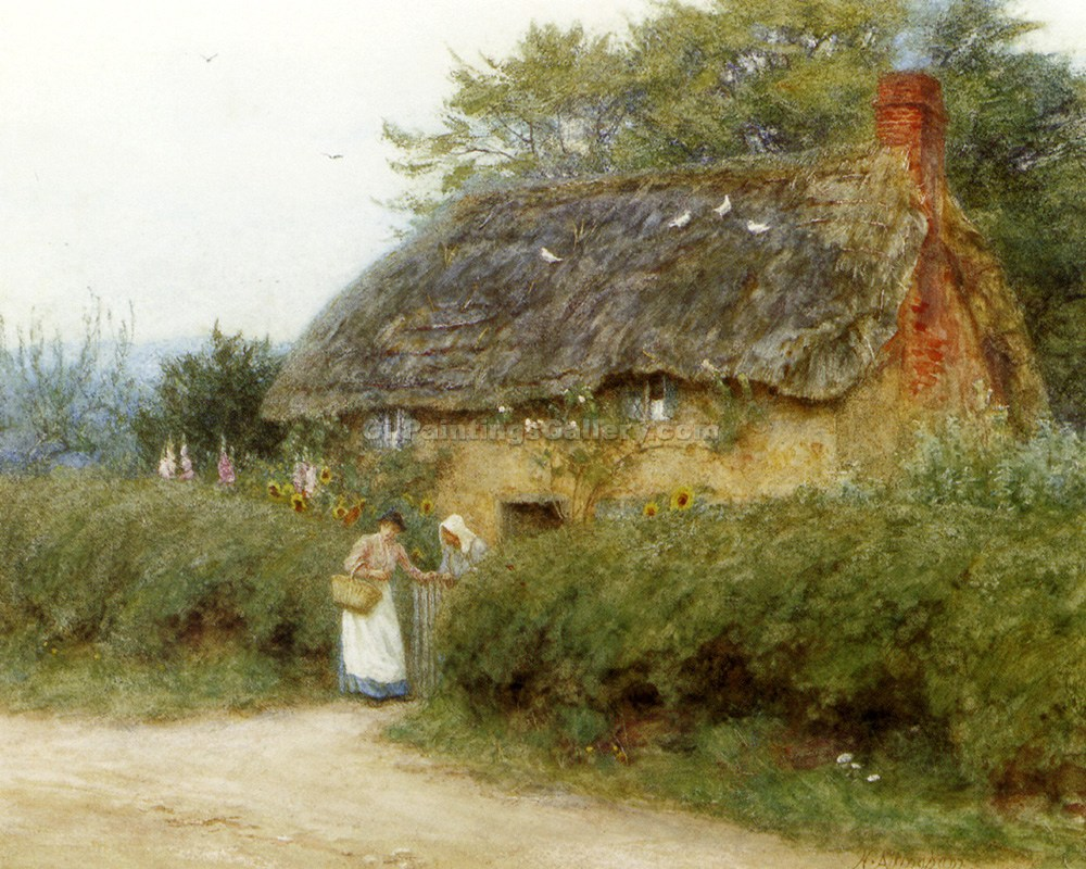 """A Cottage with Sunflowers At Peaslake"" by  Helen Allingham"