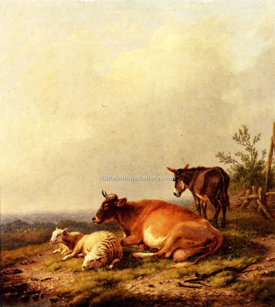 """A Cow a Sheep and a Donkey"" by  Eugene Joseph Verboeckhoven"