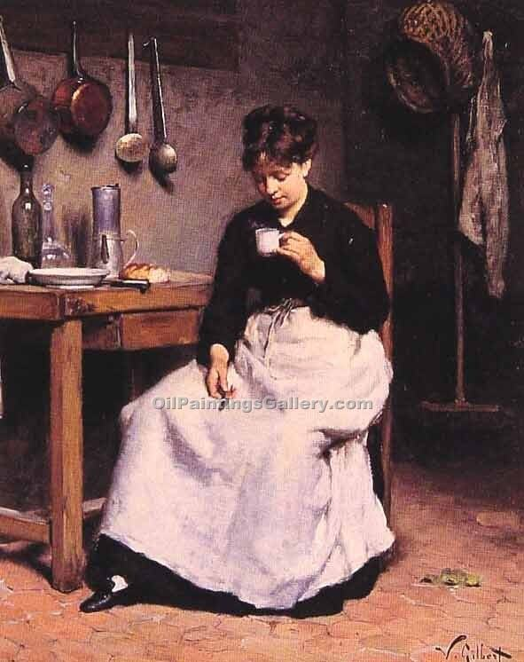 """A Cup of Coffee"" by  Victor Gabriel Gilbert"