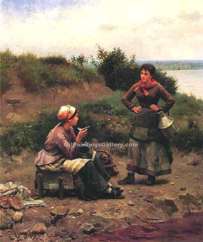 """A Discussion Between Two Young Ladies"" by  Daniel Ridgway Knight"