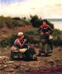 A Discussion Between Two Young Ladies by  Daniel Ridgway Knight (Painting ID: EI-0928-KA)
