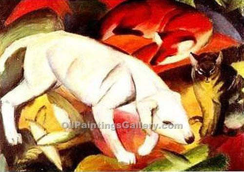 """A Dog a Fox and a Cat"" by  Franz Marc"