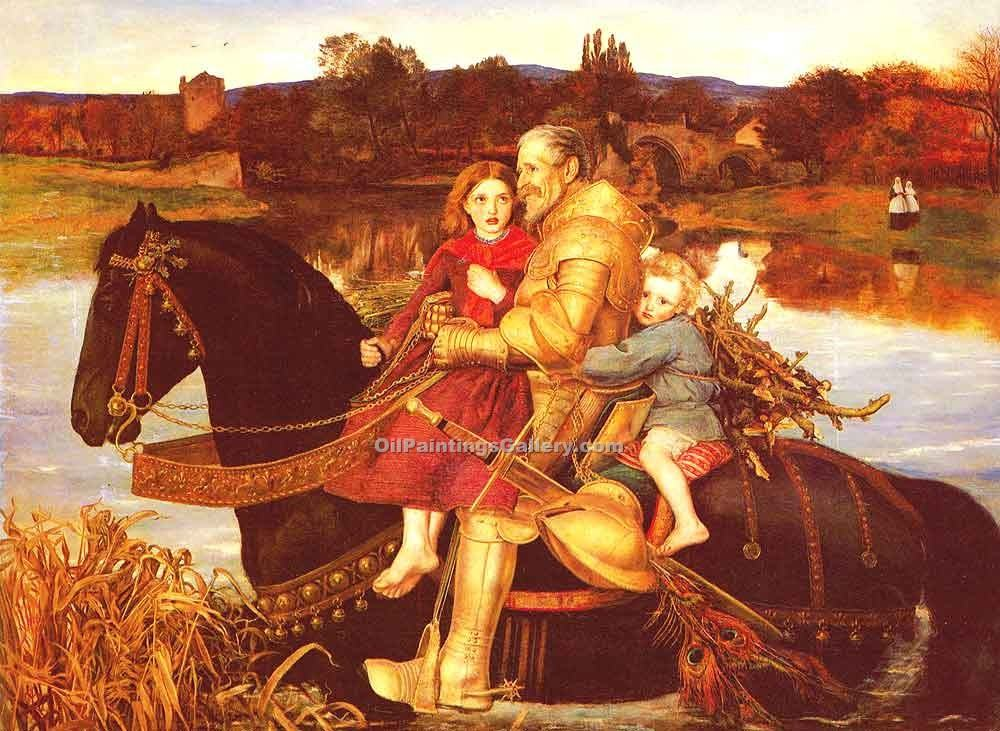 A Dream of the Past Sir Isumbras at the Ford by Millais John Everett | Animal Paintings - Oil Paintings Gallery