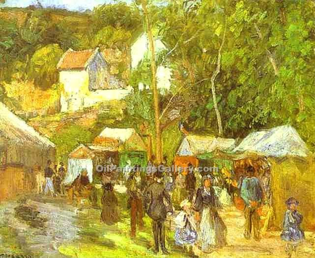 """A Fair at the Hermitage near Pontoise"" by  Camille Pissarro"