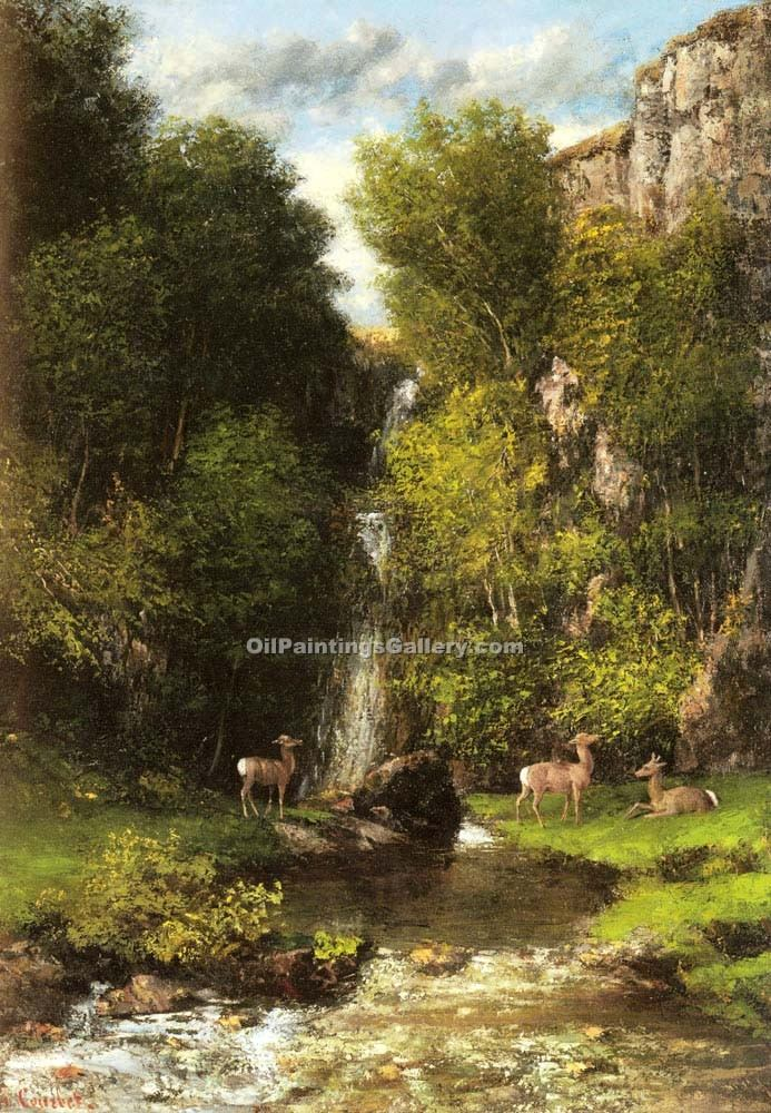 """A Family of Deer in a Landscape with a Waterfall"" by  Gustave Courbet"