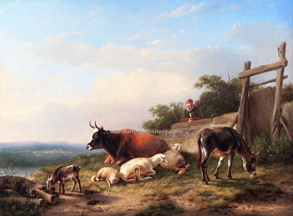 A Farmer Tending His Animals by Eugene Joseph Verboeckhoven | Art Deco Paintings