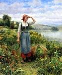 A Field of Flowers by  Daniel Ridgway Knight (Painting ID: EI-0901-KA)