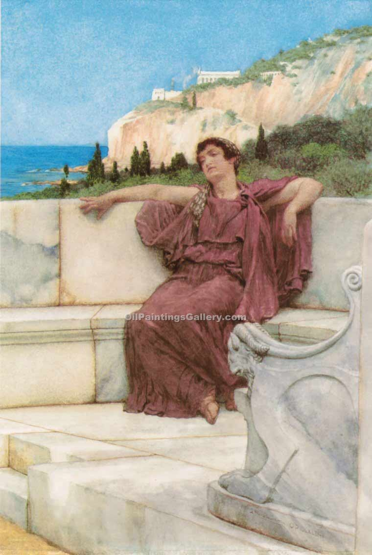A Fimale Figure Resting by Sir LawrenceAlma Tadema | Art Gallery Oil Painting - Oil Paintings Gallery