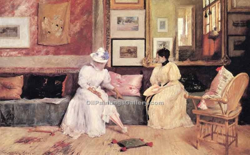 A Friendly Call by William Merritt Chase | Oil Paintings On Canvas - Oil Paintings Gallery