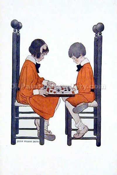 A Friendly Game by Smith Jessie Willcox | Painting Reproduction - Oil Paintings Gallery
