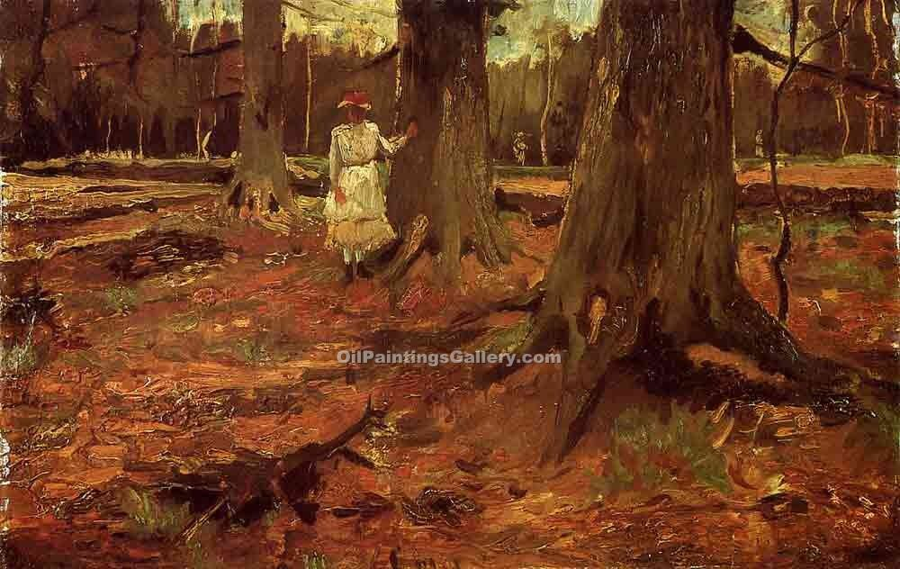 """A Girl in White in the Woods"" by  Vincent Van Gogh"