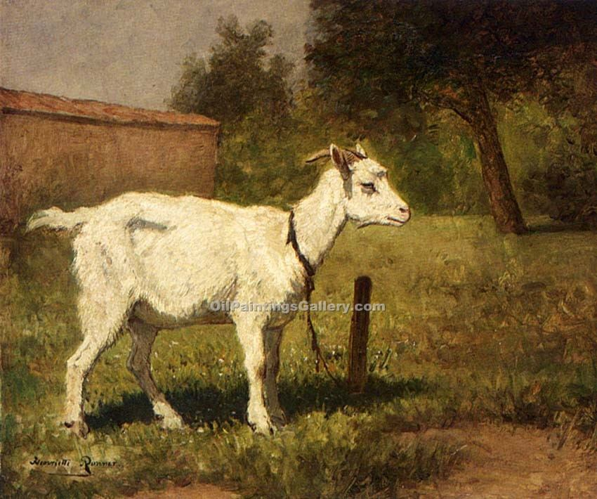 """A Goat in a Meadow"" by  Knip Henriette Ronner"