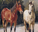 A Grey and A Chestnut Pony in a Landscape by  Otto Bache (Painting ID: AN-0114-KA)