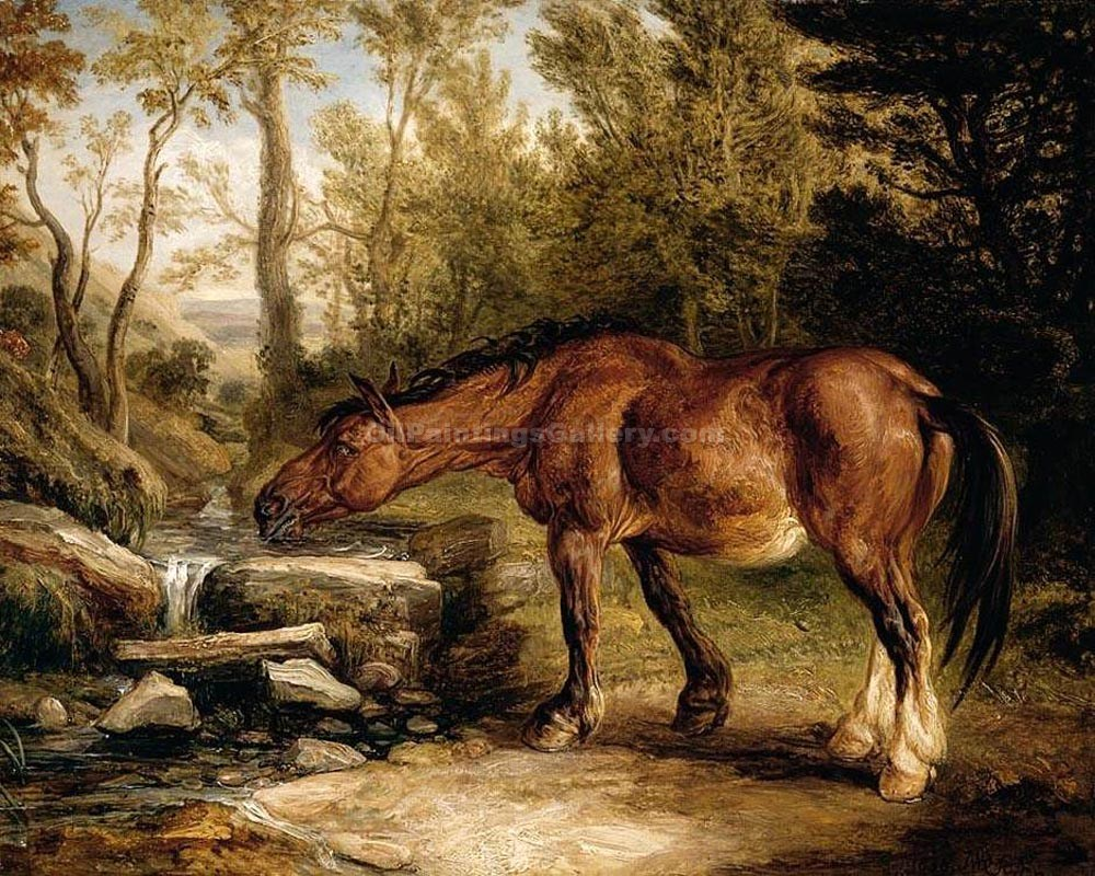 """A Horse Drinking at a Stream"" by  James Ward"