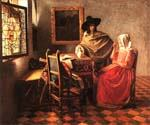 A Lady Drinking and a Gentleman by  Jan Vermeer (Painting ID: CM-0960-KA)