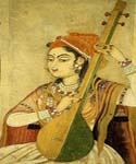 A Lady Playing the Tanpura by  Raja Ravi Varma (Painting ID: GE-1224-KA)