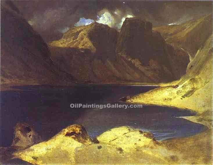 """A Lake Scene Effect of a Storm"" by  Sir Edwin Henry Landseer"