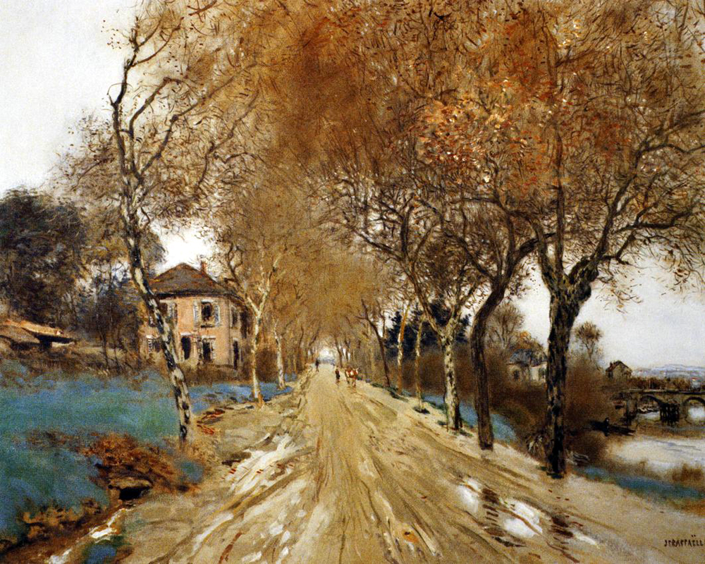 """A Lane of Plain Trees "" by  Jean Francois Raffaelli"