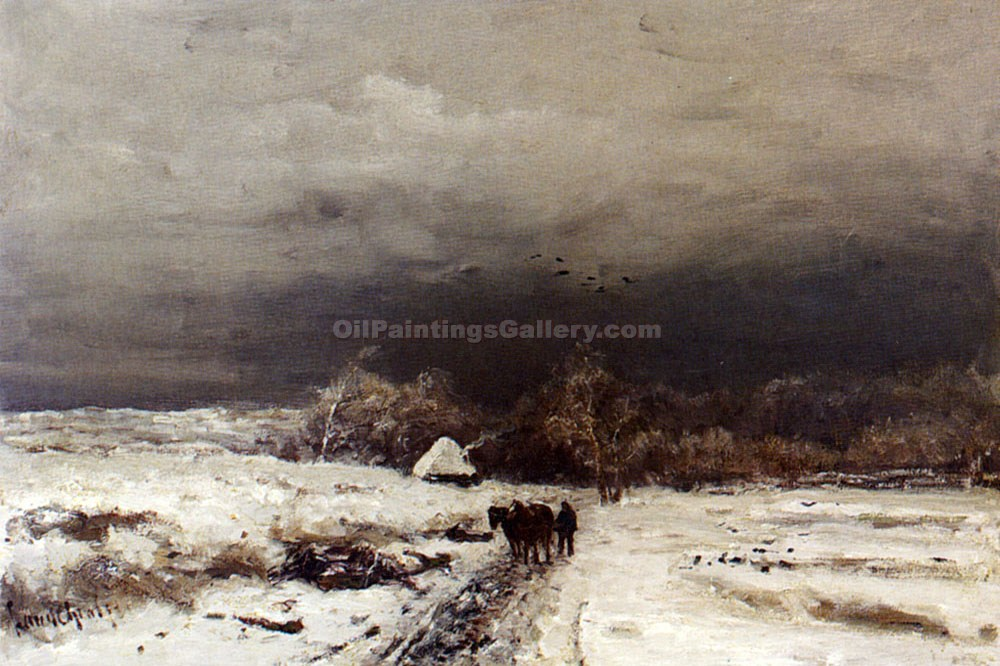 A Late Afternoon in Winter by Louis Apol | Custom Made Paintings - Oil Paintings Gallery