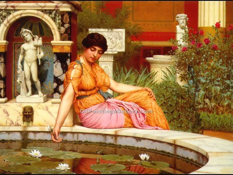 """A Lily Pond"" by  John William Godward"