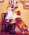 A Little Girl and her Sheltie by  Charles Burton Barber (Painting ID: AN-0413-KA)