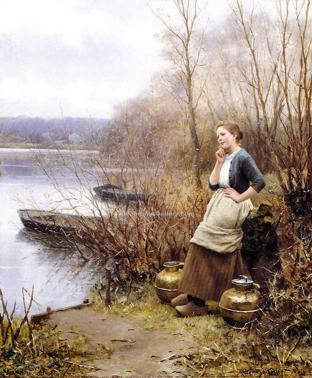 """A Lovely Thought"" by  Daniel Ridgway Knight"