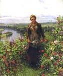 A Maid in Her Garden by  Daniel Ridgway Knight (Painting ID: EI-0911-KA)