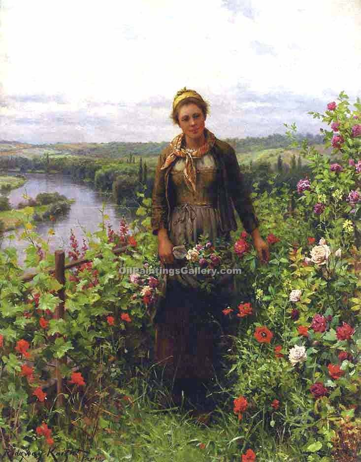"""A Maid in Her Garden"" by  Daniel Ridgway Knight"