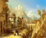 A Mediterranean Landscape with Villagers by  James Webb (Painting ID: LA-0826-KA)