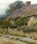 A Mother and Child Entering Cottage by  Helen Allingham (Painting ID: LA-1659-KA)