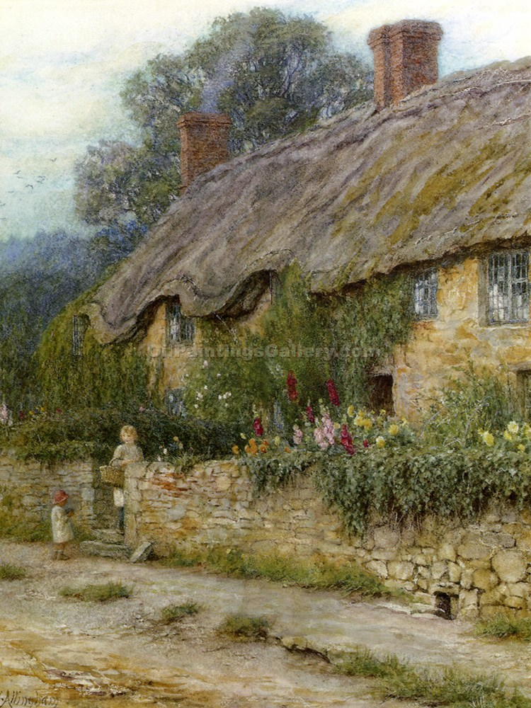 """A Mother and Child Entering Cottage"" by  Helen Allingham"