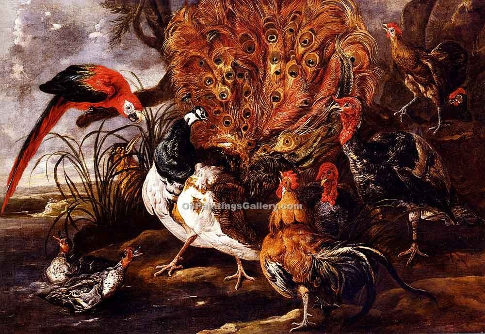 """A Peacock in a Landscape with Roosters"""