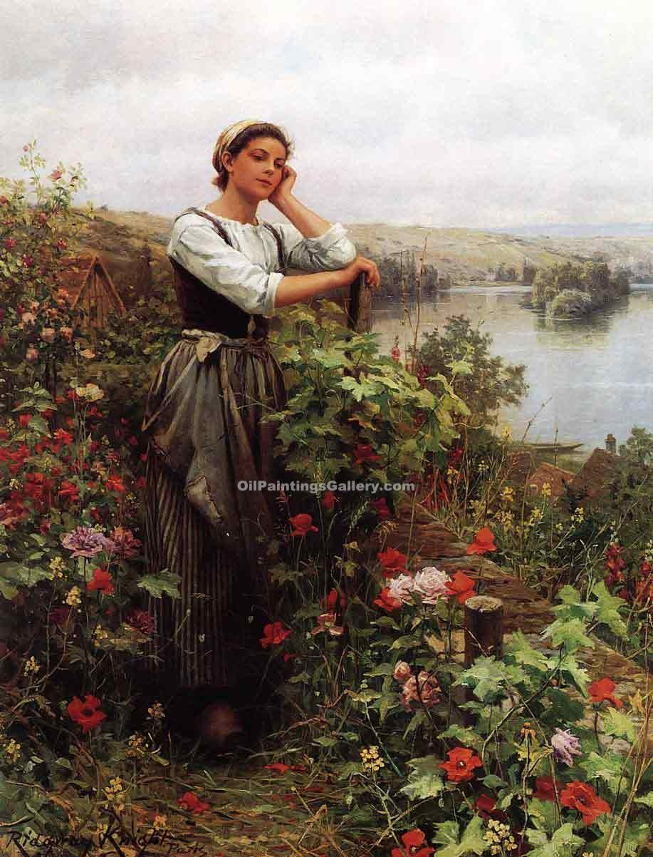 """A Pensive Moment"" by  Daniel Ridgway Knight"