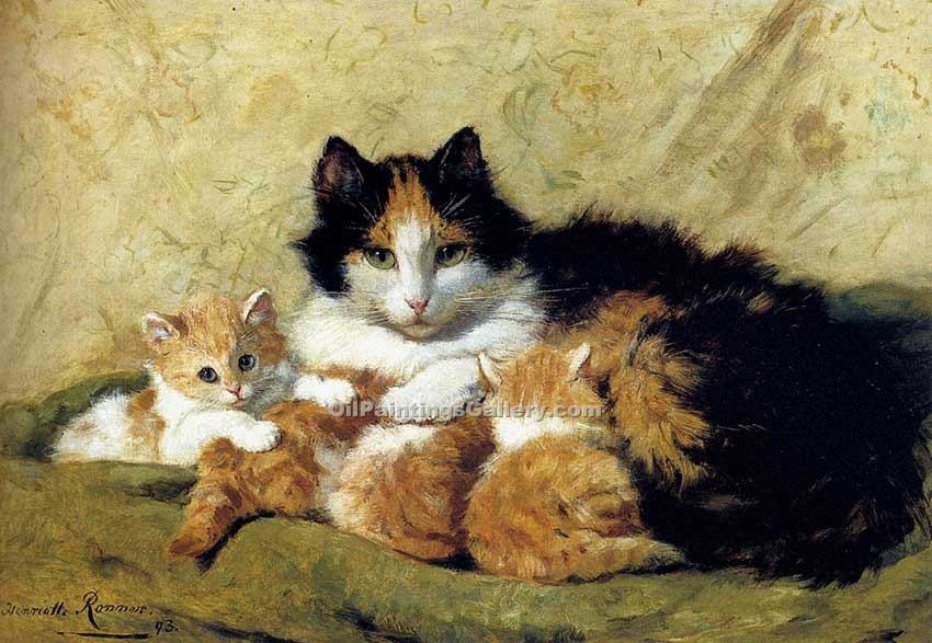 """A Proud Mother"" by  Henriette Ronner Knip"