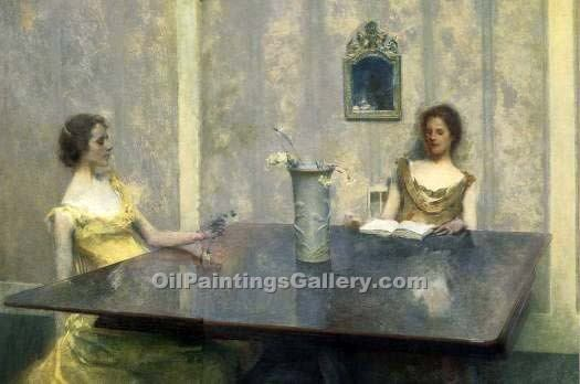 """A Reading"" by  Thomas Wilmer Dewing"