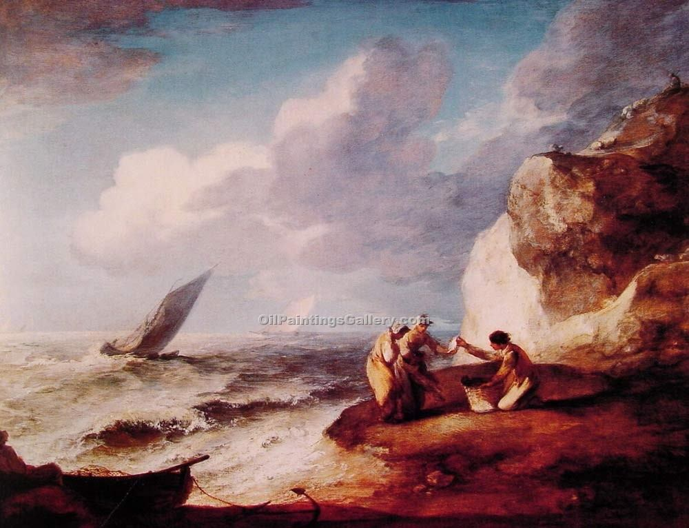"""A Rocky Coastal Scene"" by  Thomas Gainsborough"