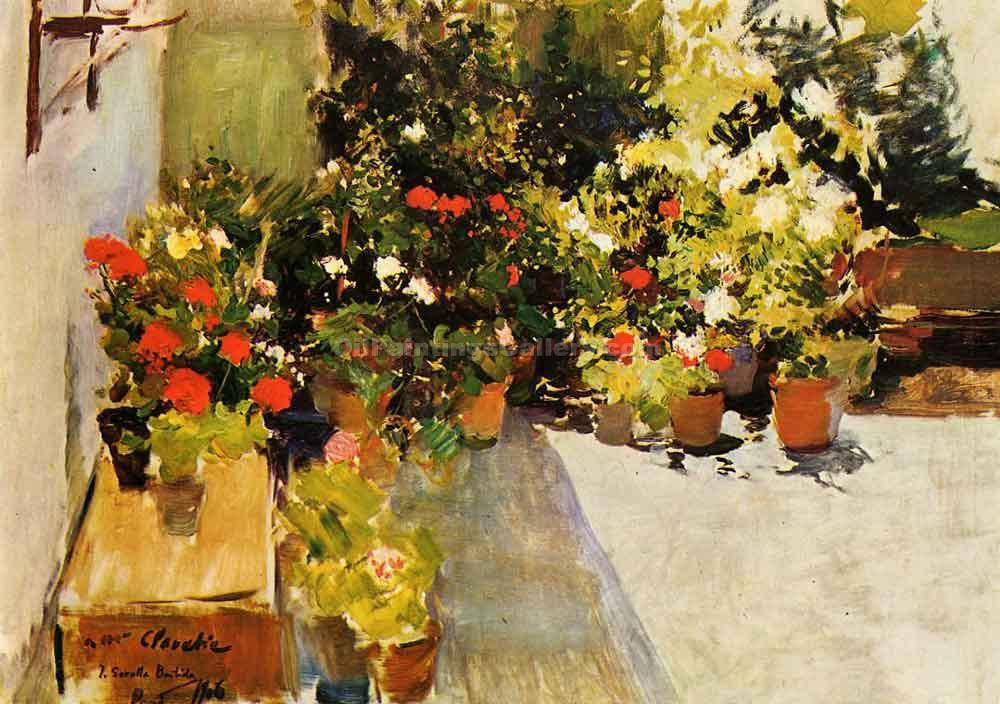 A Rooftop with Flowers by Sorolla Bastida Joaquin | Landscape Paintings - Oil Paintings Gallery
