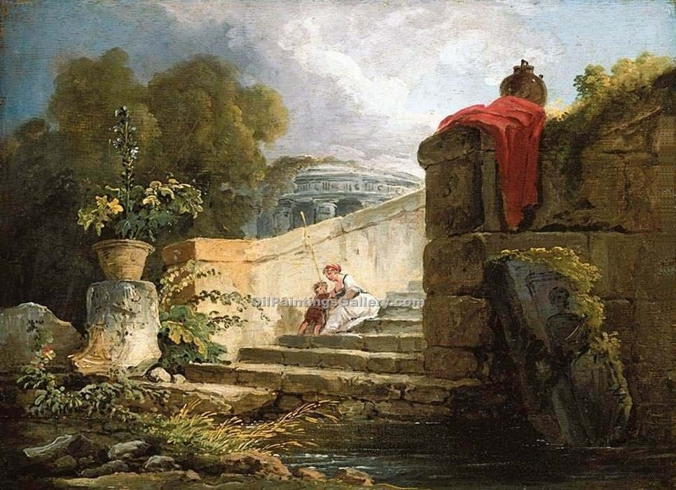 """A Scene in the Grounds of the Villa Farnese  Rome"" by  Hubert Robert"