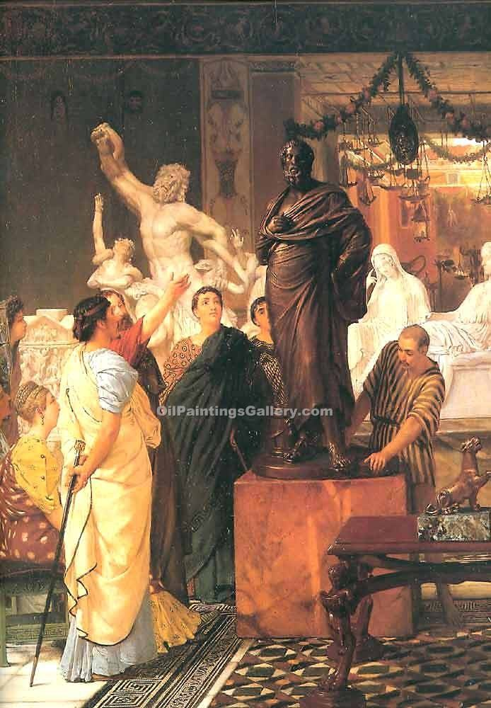 """A Sculpture Gallery"" by  Sir Lawrence Alma Tadema"